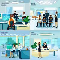 Conceito de Design de pessoas de escritório 2 x 2