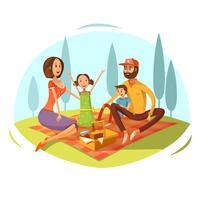 Família, tendo, piquenique, ilustração
