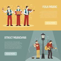 Banners horizontais Folk e Street músicos vetor