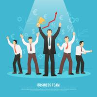 Cartaz liso do sucesso da equipe do negócio vetor