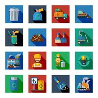 Eliminação de resíduos quadrados ícones coloridos vetor