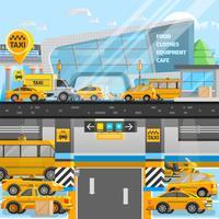 Composição de carros de táxi vetor