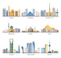 Coleção de ícones plana de Marcos Cityscapes Oriental vetor