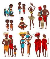 Coleção de ícones plana de roupa de pessoas africanas vetor