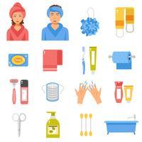 Conjunto de ícones plana de acessórios de higiene