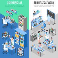 Banners verticais do laboratório de ciências vetor