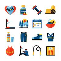 Conjunto de ícones de cor lisa de aptidão