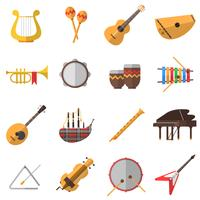 Conjunto de ícones de instrumentos musicais vetor