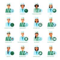 Conjunto de avatares de profissões médicas