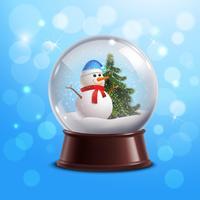 Globo de neve com boneco de neve vetor