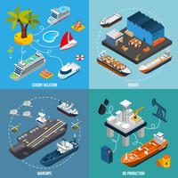 Barcos de navios 4 isométrica ícones quadrados