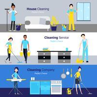 Banners horizontais de limpeza profissional