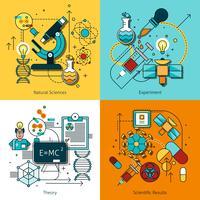 Conjunto de ícones de linha de conceito de ciência