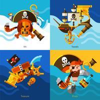 Piratas 2x2 Design Concept Set vetor