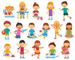 Conjunto de silhuetas de crianças vetor