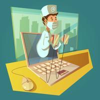 olnine médico e laptop conceito