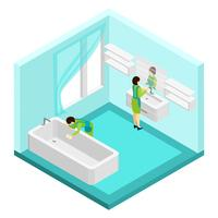 Pessoas, limpeza, banheiro, ilustração vetor