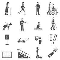 Deficientes deficientes pessoas conjunto de ícones pretos vetor