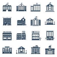Conjunto de ícones pretos de edifício do governo