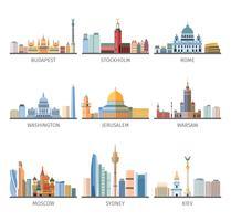 Coleção de ícones plana Cityscapes mundialmente famosa vetor