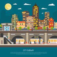 Cartaz do metrô da cidade vetor