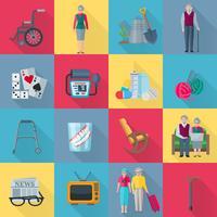 Conjunto de ícones de pensionistas vetor