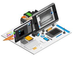 Ilustração de local de trabalho de design gráfico