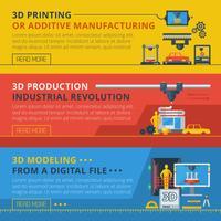 Conjunto de Banners horizontais plana de impressão 3D