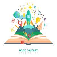 Livro, conceito, ilustração vetor