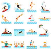 Ícones decorativos de esporte de água vetor