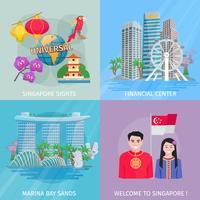 Cultura de Cingapura 4 ícones lisos quadrados vetor