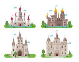 Conjunto antigo medieval de castelos vetor