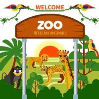 Animais africanos do jardim zoológico vetor
