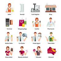 Conjunto de ícones de cor lisa de vendedor