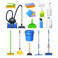 Conjunto de ícones plana de kit de equipamentos de limpeza