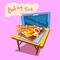 Ilustração dos desenhos animados de padaria