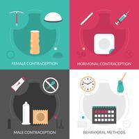 Conjunto de ícones de conceito de contracepção vetor