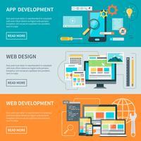 Banners de desenvolvimento de sites vetor