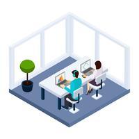Coworking e ilustração de negócios vetor