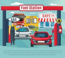 Ilustração de fundo de posto de gasolina