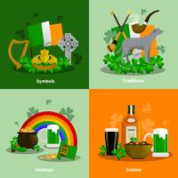 Conjunto de conceito de Design Irlanda 2x2 vetor