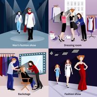 Conjunto de passarela de modelo de moda vetor
