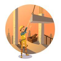 Desenhos animados de construção retrô vetor