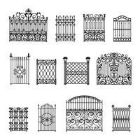 Conjunto de cercas decorativas vetor