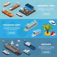 Navios Barcos Embarcações Isométricas Banners Set