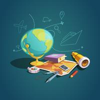 Conjunto de desenhos animados retrô de geografia