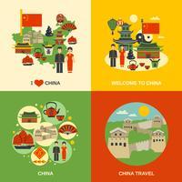 Cultura da China 4 ícones quadrados vetor