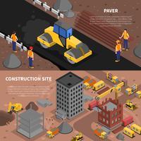 Conjunto de Banners de construção vetor