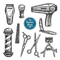 Barber Shop Set Doodle Esboço ícones
