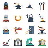 Conjunto de ícones de cor lisa de ferreiro vetor